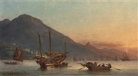 junks, sampans and western shipping lying off hong kong at dusk by fritz siegfried george melbye