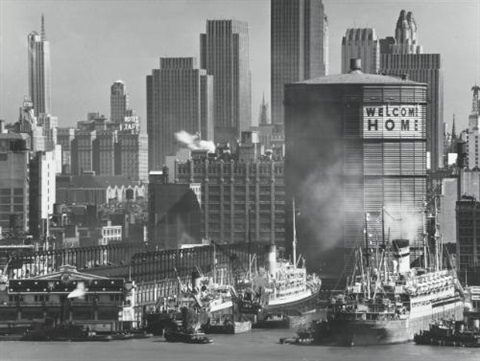 new york harbor, welcome home by andreas feininger
