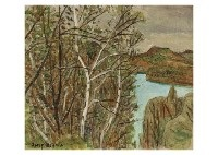 white birch and lake (shiga highland) by zenzaburo kojima