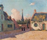 place du village en bretagne by ferdinand puigaudeau