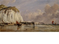 the seashore at bonchurch, isle of wight by edward william cooke