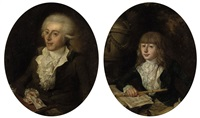 portrait of a boy seated in a blue coat, a recorder in his right hand before a score of music (+ portrait of a gentleman seated at a table...; 2 works) by elias philip hauck