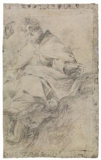 figura maschile drappeggiata in piedi e due studi di teste (recto); studio per un santo vescovo (verso) by giovanni lanfranco