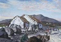 a connemara cottage with figures by harry epworth allen