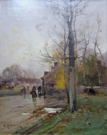 village animé sous la pluie by eugène galien laloue