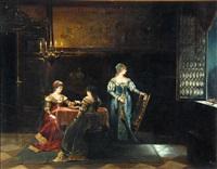 historisierendes interieur mit drei wartenden damen by edmund kregczy