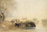 cattle on the banks of a river by joseph mallord william turner