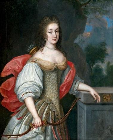 portrait présumé de la duchesse de gramont en diane chasseresse by eglon hendrik van der neer