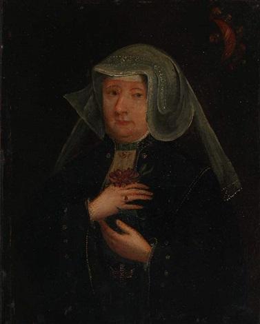 dreiviertelbildnis einer patrizierfrau by bartholomäus (barthel) bruyn the younger