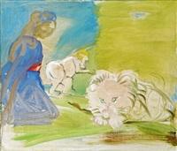 madonna mit weißem löwen by siegfried anzinger