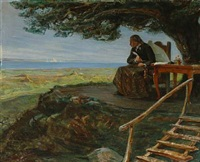 the poet johannes ewald (1743-1781) looking out across the sound from rungsted coast by valdemar neiiendam