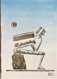 robot (after rodin)(cover design for the new yorker) by r.o. blechman