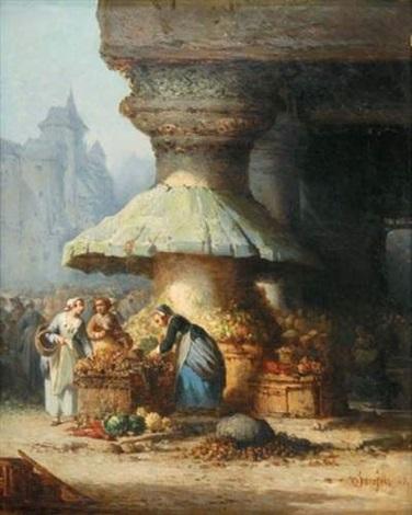 marchande de légumes devant léglise by léonard saurfelt