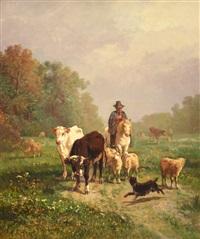 pastor con ganado by andrés cortés y aguilar