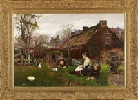 country village view of children playing with rabbits by robert payton reid