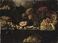 a basket of apples, calabashes, an upturned copper vessel, figs, melons, with other fruit on rocky ledges by luca forte