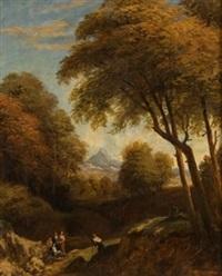 paisaje con figuras by vicente camaron y torra
