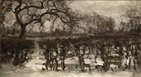 landscape with apple tree at left: winter landscape by piet mondrian