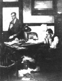 two men in an office, one speaking on the telephone by frank c. herbst