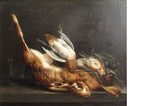 still life of a woodcock, hare and other dead game by bernard pégot
