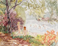children bathing in a pool by charles sims