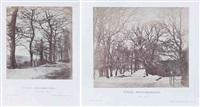routes bordées d'arbres, sèvres (2 works) by henri-victor regnault