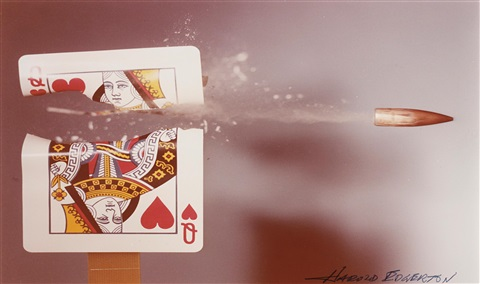 queen of hearts playing card hit by a 30 calibre bullet by harold eugene edgerton