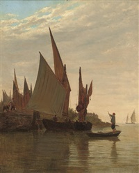 barges on the venetian coast by giulio cecchini prichard