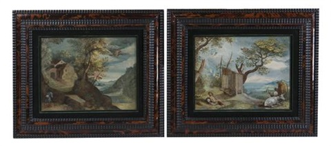 shepherd and cattle in a landscape and traveler in a landscape (pair) by flemish school (17)