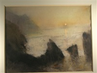 cliffs at trefor at sunset by william selwyn