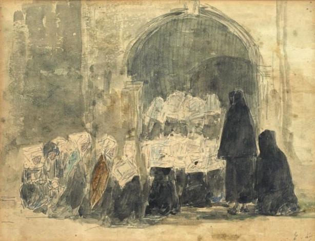 religieuses en prière devant le portail by eugène boudin