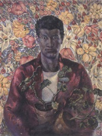 young black boy carrying potted plants in a floral surround by luigi spizziri