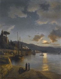 a turkish harbour by moonlight by daniel hermann anton melbye