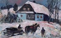 fällergespann vor umgebindehaus im winter by frantisek emler