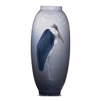 vase with marabou stork by royal copenhagen