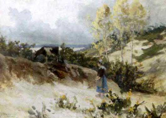 gardienne de vaches devant la mer by eugène labitte