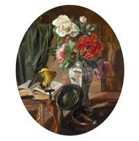 stillleben mit blumen in einer chinesischen vase, vogel und ziergegenständen by edmond collignon