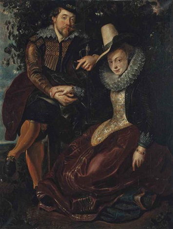 self portrait of the artist full length with his wife isabella brandt in the honeysuckle bower by sir peter paul rubens