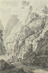 a gorge in the caucasus (the valley of the terek?), with travellers on a road by giacomo quarenghi