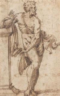 un homme barbu tourné vers la droite, appuyé à un pilastre by jean cousin the younger