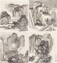 山水 册页 (四开) 水墨纸本 (4 works) by xie zhiliu