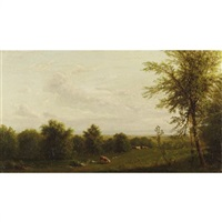 landscape with cattle at pasture by richard william hubbard