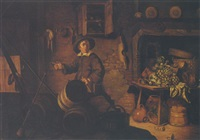 kitchen interior with a youth, german stoneware, copper pots and a basket on a table by philips angel