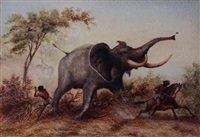 elephant hunting in abyssinia by john thomas baines