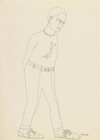untitled man walking by benny andrews