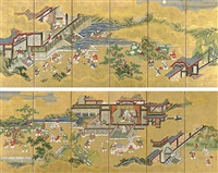 chinese children playing at court (+ another; pair) by nuinosuke kano