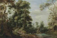 a wooded landscape with travellers and a herdsman with his flock, a village beyond by gillis claesz de hondecoeter