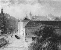 blick auf die mariahilferstraße, ecke messepalast und rahlstiege by hermine lang-laris