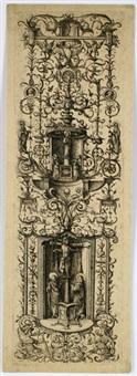 ornament mit kreuzigung und madonna mit kind by daniel hopfer