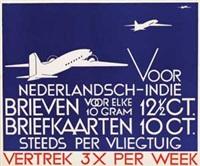 voor nederlandsch-indië brieven briefkaarten steeds per vliegtuig by nicolaas p. de koo